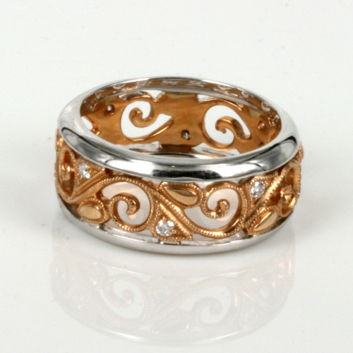 Filigree rose gold diamond ring.