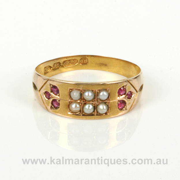 ruby-and-pearl 15ct-gold ring