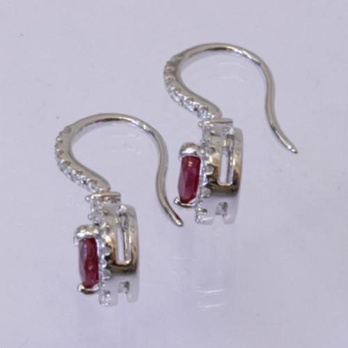 18ct ruby and diamond earrings.