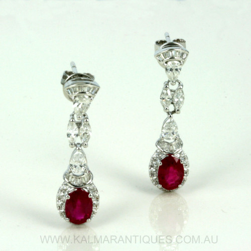 Stunning ruby & diamond drop earrings