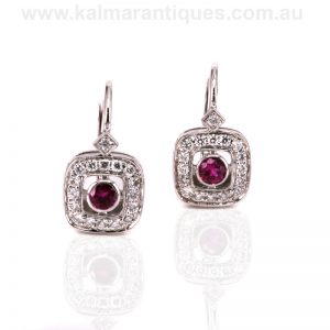 18ct white gold Art Deco style ruby and diamond earrings