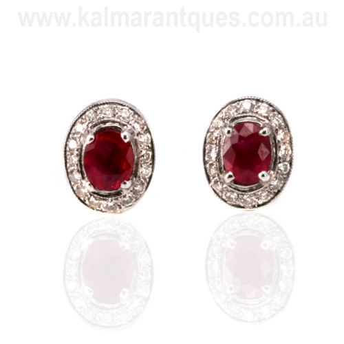 Burmese ruby and diamond cluster earrings