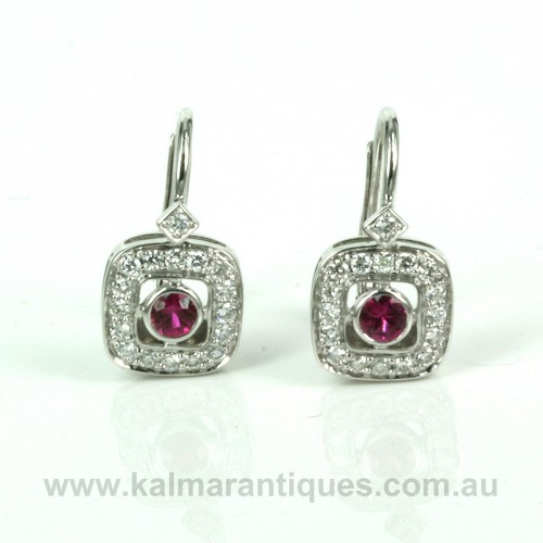 18ct ruby and diamond Art Deco style earrings