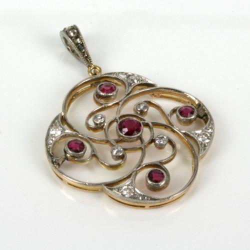 Edwardian 18ct & platinum ruby and diamond pendant.