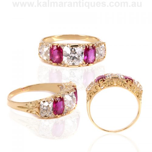 Incredible Victorian era antique ruby and diamond ring