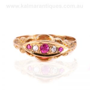 18 carat gold antique ruby and diamond ring made in 1918