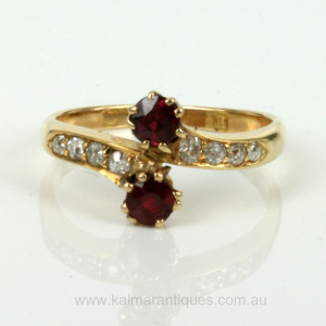 Ruby and diamond Art Nouveau ring