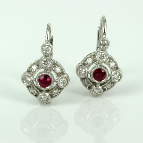 18ct ruby and diamond fancy cluster earrings