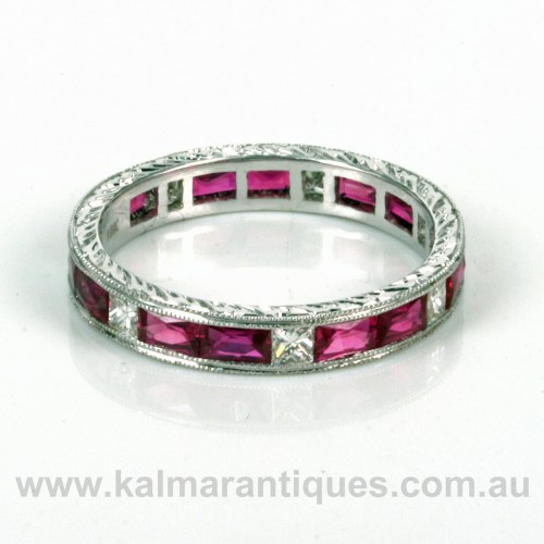18ct ruby and diamond eternity ring.