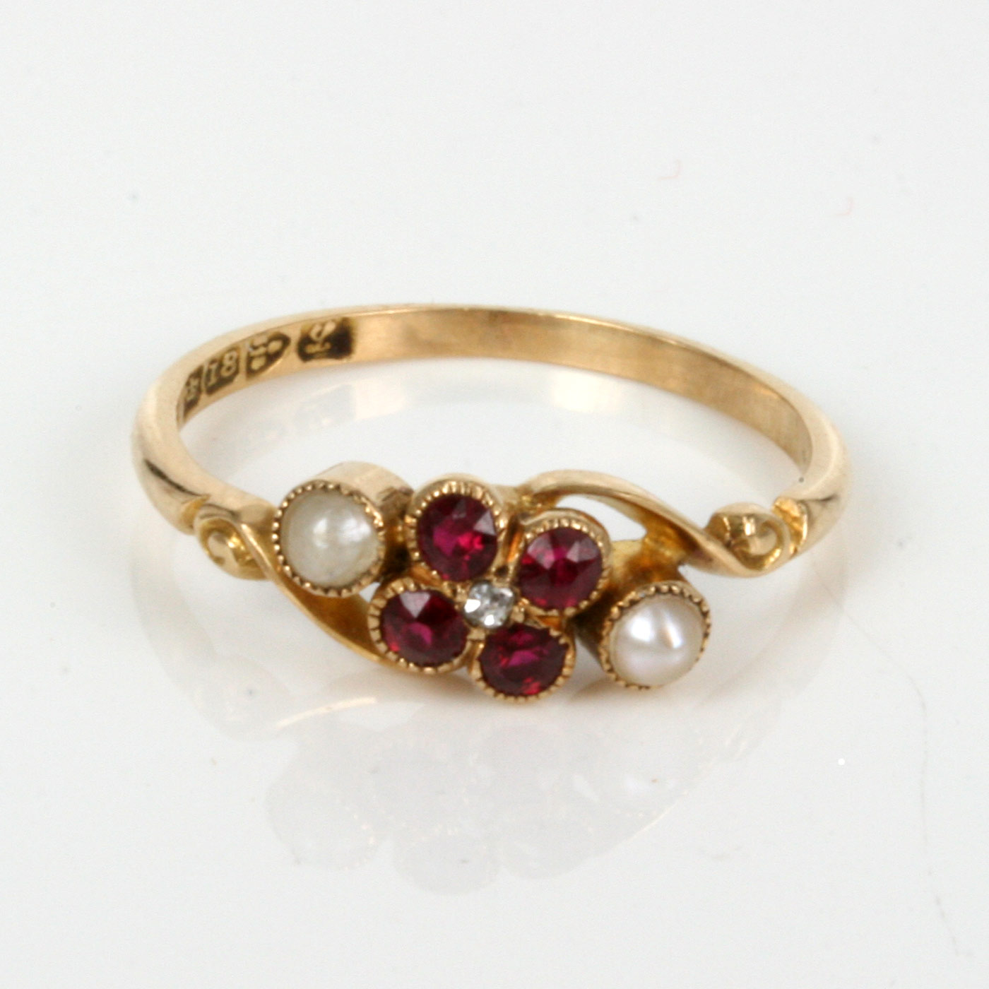 Buy Antique Ruby Pearl Amp Diamond Ring Made In 1911 Sold