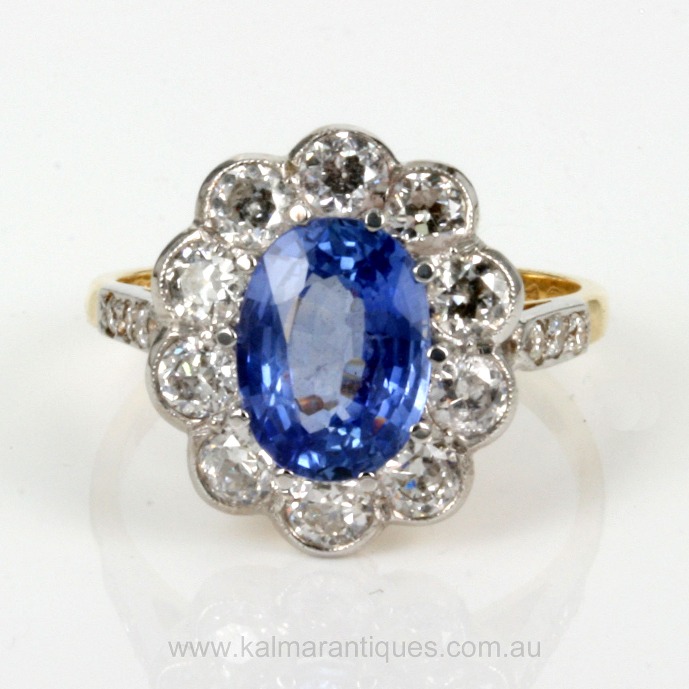 Cluster Bands: Buy 2.45ct Sapphire & Diamond Cluster Ring In 18ct Gold