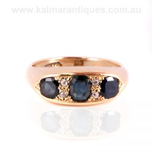 18 carat gold antique sapphire and diamond ring made in the 1890's