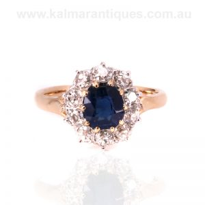 Gold and platinum Art Deco sapphire and diamond cluster ring
