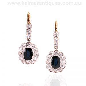 Art Deco sapphire and diamond drop earrings made in the 1930's