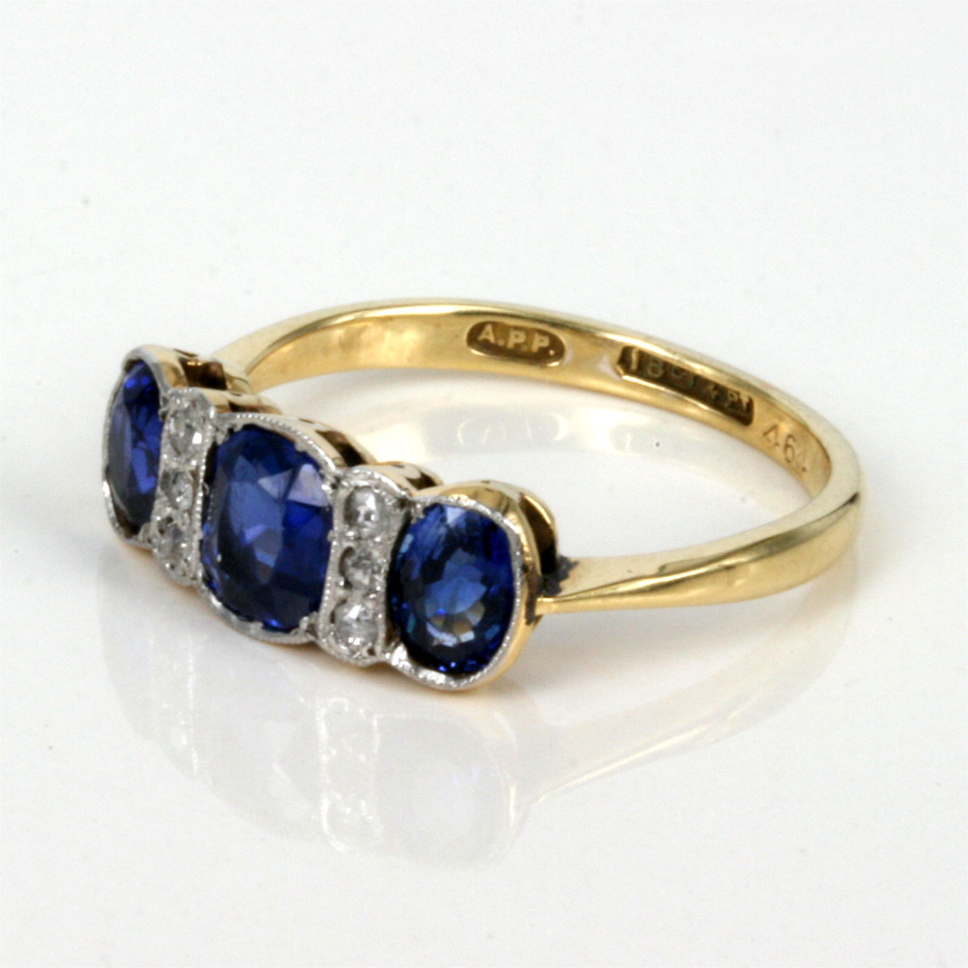 buy antique sapphire and diamond ring in 18ct and platinum. Black Bedroom Furniture Sets. Home Design Ideas