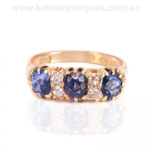 Antique sapphire and diamond engagement ring made in 1912