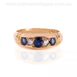 18 carat gold antique sapphire and diamond ring made in 1899