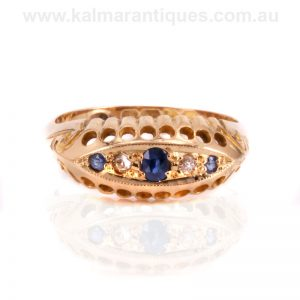 Antique sapphire and diamond ring made in Chester in 1918