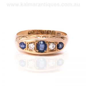 18 carat antique sapphire and diamond ring made in 1914