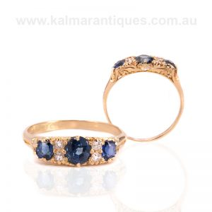 Antique sapphire and diamond engagement ring made in the 1890's