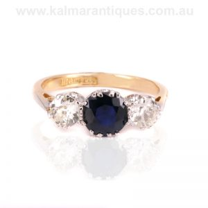 Art Deco sapphire and diamond engagement ring from the 1930's