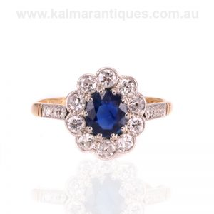 Hand made Art Deco sapphire and diamond engagement ring