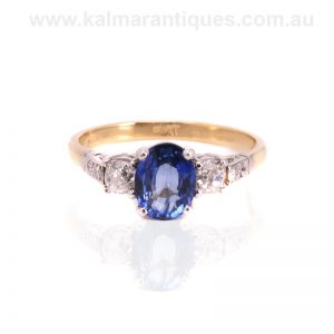 Hand made vintage sapphire and diamond engagement ring