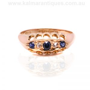 Antique sapphire and diamond ring made in 1918