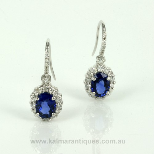 3.15 carats Ceylonese sapphire and diamond drop earrings