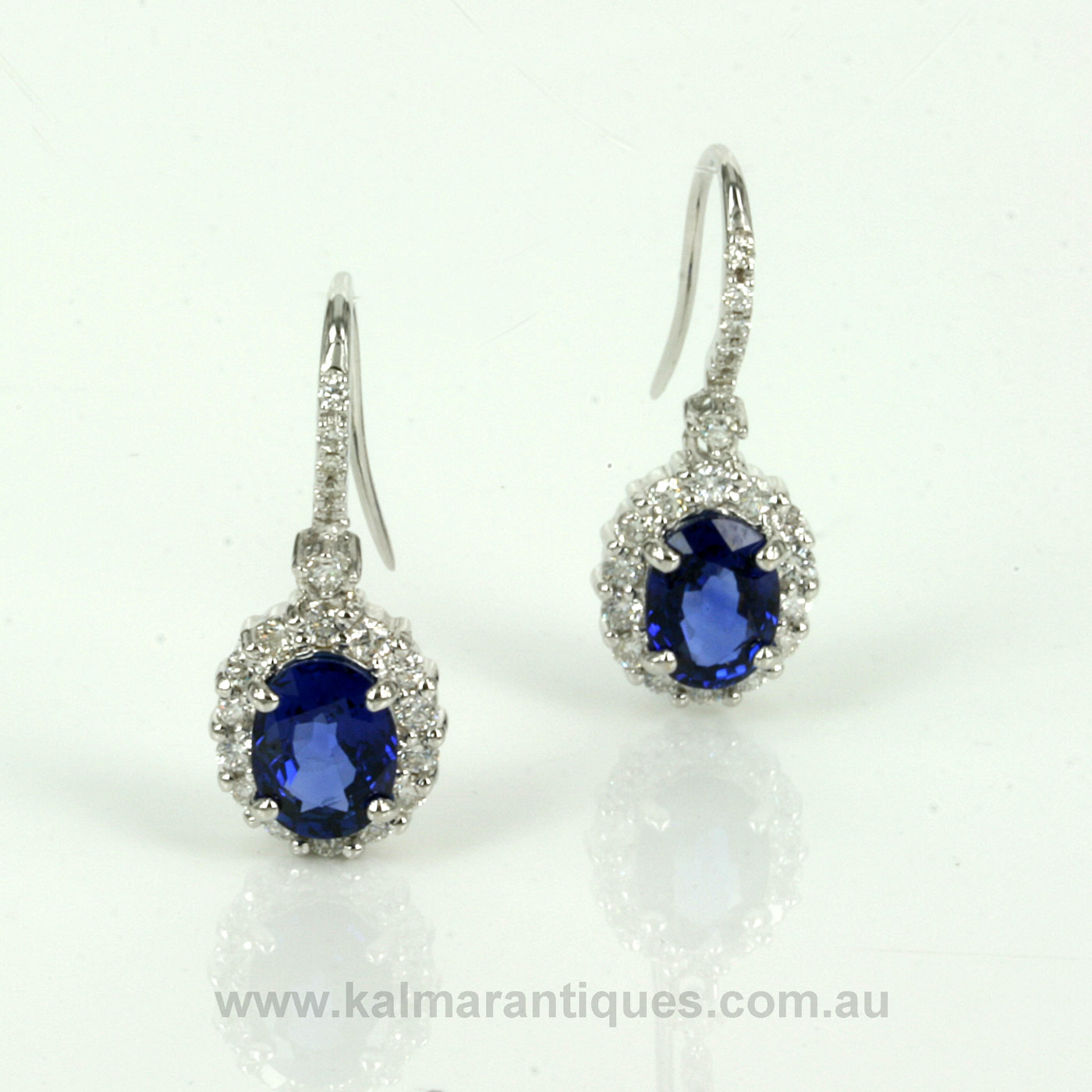 Buy 3 15 carats Ceylonese sapphire and diamond drop earrings Sold Items Sold