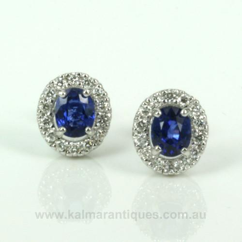 2.03ct Ceylonese sapphire and diamond earrings