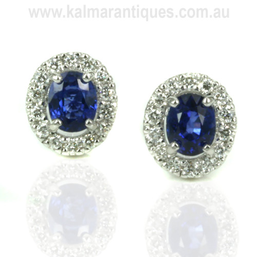 Ceylonese sapphire and diamond cluster earrings