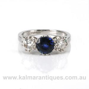 Platinum sapphire and diamond engagement ring