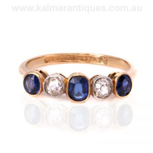 Art Deco sapphire and diamond ring hand made in 18ct gold and platinum by McKay