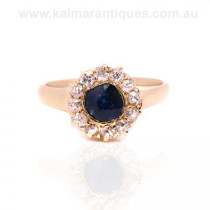 18 carat gold antique sapphire and diamond cluster ring