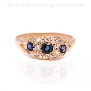 Antique sapphire and diamond ring made in the late Victorian era
