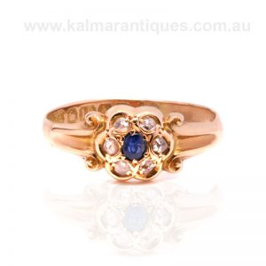 18ct gold antique sapphire and diamond ring made in 1906
