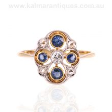 Art Deco sapphire and diamond ring made in France in the 1920's