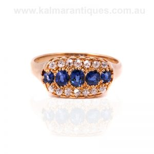 Antique sapphire and diamond ring made in the 1890's