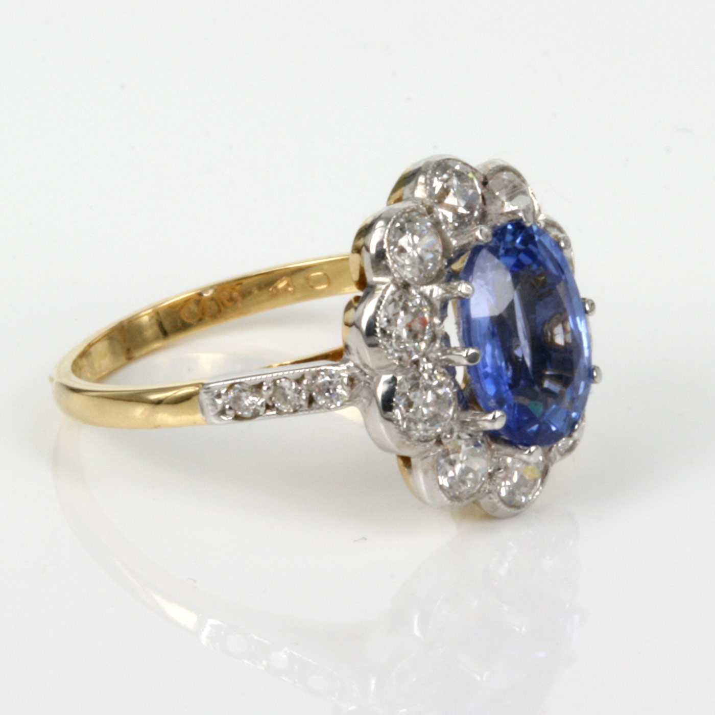Buy 2 45ct Sapphire Amp Diamond Cluster Ring In 18ct Gold