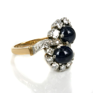 Retro sapphire and diamond ring