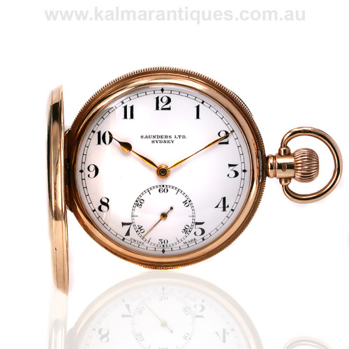 14ct pocket watch retailed by Saunders
