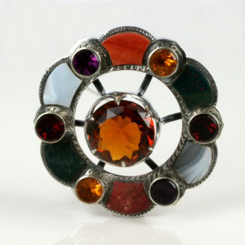 Silver Scottish brooch with agates.