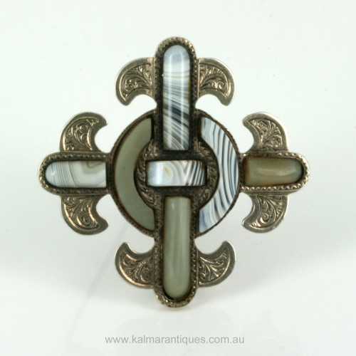Antique silver Scottish agate brooch