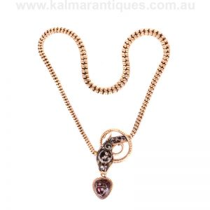 Exceptional quality antique garnet and diamond serpent necklace