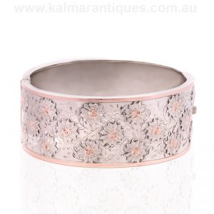 Very beautiful antique silver and rose gold bangle