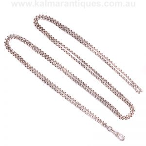 Antique sterling silver guard chain measuring 123cm in length