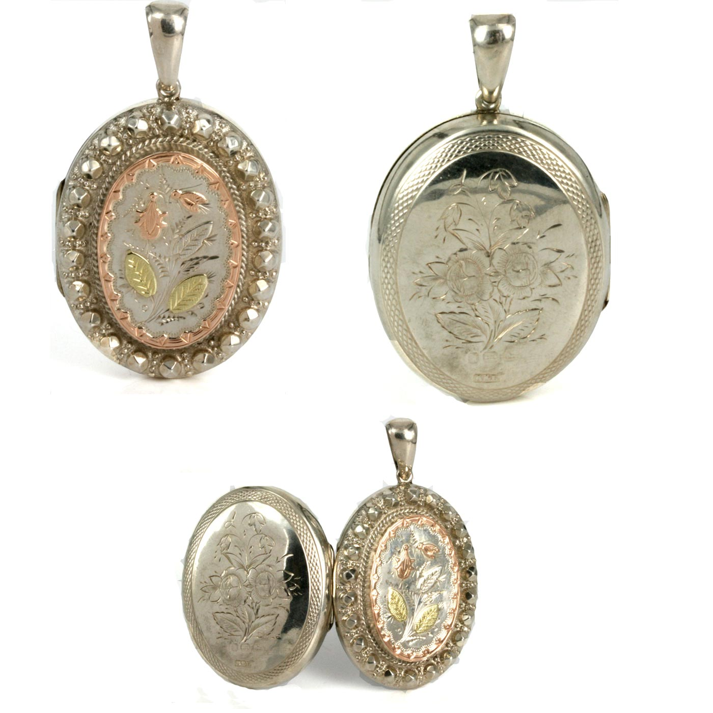 Buy Antique Silver Rose And Green Gold Locket From 1884