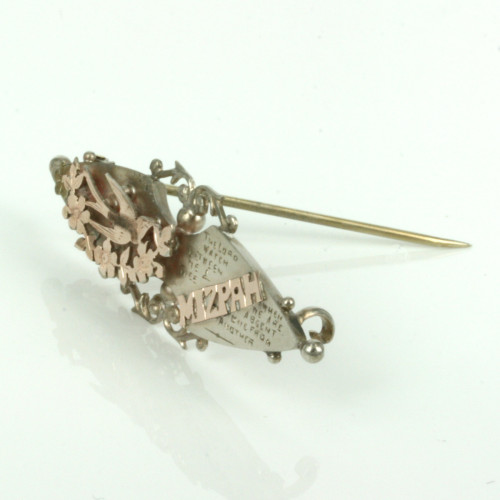 Antique Mizpah brooch in gold & silver with a bird design.