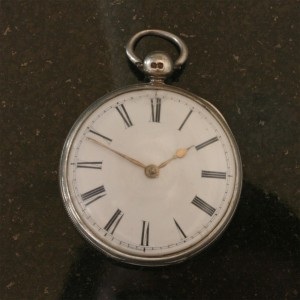 Antique sterling silver pocket watch.